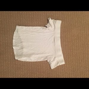 pacsun white off the shoulder cropped shirt